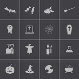 Vector black  halloween icons set Royalty Free Stock Photo