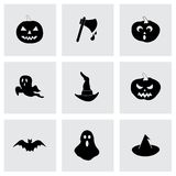 Vector black halloween icons set Royalty Free Stock Photography