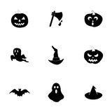 Vector black halloween icons set Stock Photography