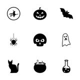 Vector black halloween icons set Royalty Free Stock Photos