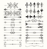 Vector Black Hand Drawn Dividers, Arrows, Swirls. Set of Hand Drawn Black Doodle Design Elements. Decorative Floral Dividers, Arrows, Swirls, Scrolls. Vintage Stock Photos