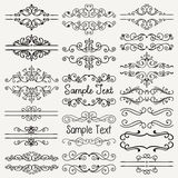 Vector Black Hand Drawn Dividers, Frames, Swirls Stock Photo