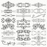Vector Black Hand Drawn Dividers, Text Frames, Swirls. Set of Hand Drawn Sketched Black Doodle Design Elements. Decorative Floral Rustic Dividers, Borders Stock Photography