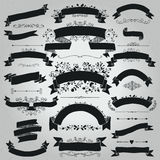 Vector Black Hand Drawn Rustic Ribbons, Banners Shapes Stock Photo