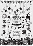 Vector Black Hand Sketched Christmas Doodle Icons Stock Photos