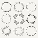 Vector Black Hand Sketched Floral Frames, Borders. Collection of Black Artistic Hand Sketched Floral  Decorative Doodle Borders, Frames, Wreaths. Design Elements Royalty Free Stock Photography