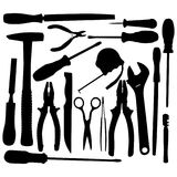 Vector Black Hand Tool Pictograms. Isolated on white background Royalty Free Stock Photos