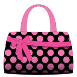 Vector black handbag in pink polka dots Stock Image