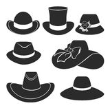 Vector black hats icons set. Vector set of flat icons with classic hats Stock Photo