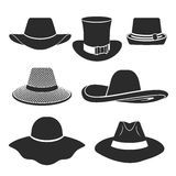 Vector black hats icons set. Vector set of flat icons with classic hats Royalty Free Stock Images