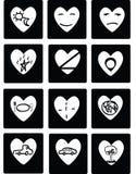 Vector black hearts. Icons set Royalty Free Stock Photos