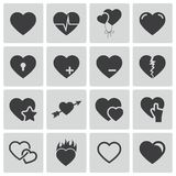 Vector black hearts icons set Stock Image
