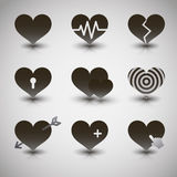 Vector black hearts icons set Stock Photography