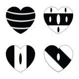 Vector black hearts icons set Royalty Free Stock Photo