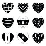 Vector black hearts icons set Stock Photography