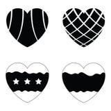 Vector black hearts icons set Stock Image