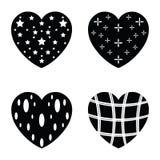 Vector black hearts icons set Stock Photos