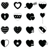 Vector black hearts icons set Stock Images
