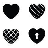Vector black hearts icons set Stock Photo