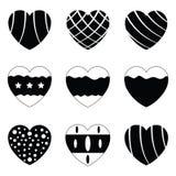 Vector black hearts icons set Royalty Free Stock Image