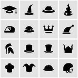 Vector black helmet and hat icon set Stock Photos