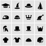 Vector black helmet and hat icon set Stock Photos