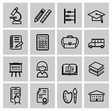 Vector black higher education icons Stock Photography