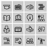 Vector black higher education icons Royalty Free Stock Photos