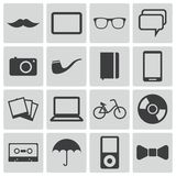 Vector black  hipster icons Stock Photography