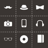 Vector black hipster icons set. On black background Royalty Free Stock Photos