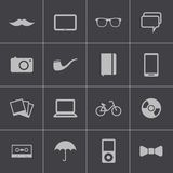 Vector black  hipster icons set Stock Image