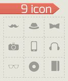Vector black hipster icons set Royalty Free Stock Photo