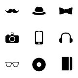 Vector black hipster icons set Royalty Free Stock Images