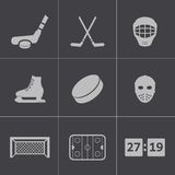 Vector black hockey icons set Royalty Free Stock Photo