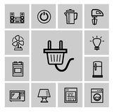 Vector black home appliances icon set Stock Photos