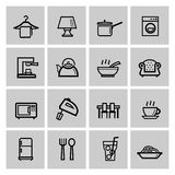 Vector black home appliances icons set Stock Photography