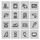 Vector black home appliances icons set Royalty Free Stock Photo
