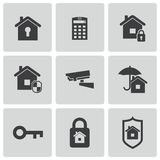 Vector black home security icons set Stock Images