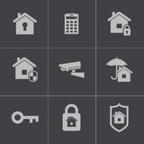 Vector black home security icons set stock illustration