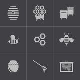 Vector black honey icons set Stock Image