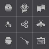 Vector black honey icons set Stock Image