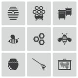 Vector black honey icons set Royalty Free Stock Photos