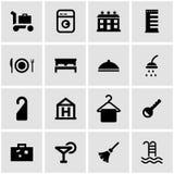 Vector black hotel icon set Stock Image