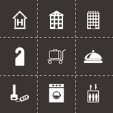 Vector black hotel icons set. On black background Royalty Free Stock Images