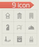 Vector black hotel icons set Royalty Free Stock Photos