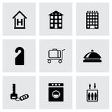 Vector black hotel icons set Stock Images