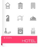 Vector black hotel icons set Royalty Free Stock Photo
