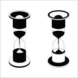 Vector black hourglass icon on white background. Vector black hourglass icon set isolated on white background Royalty Free Stock Photos