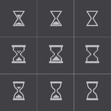 Vector black hourglass icons set Royalty Free Stock Image
