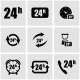 Vector black 24 hours icon set. On grey background Royalty Free Stock Photography
